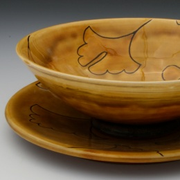 Ginko Plate and Bowl