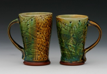 Stamped Cups with Emerald and Amber Glaze