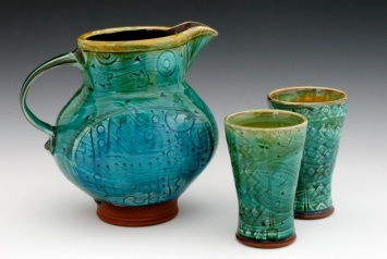 Paddled Pitcher and Cups